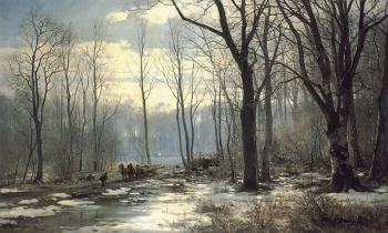 Anders Andersen Lundby – private collection. Title: Holzfäller im Englischen Garten in Munchen. Date: 1890. Materials: oil on canvas. Dimensions: 150.5 x 250 cm. Source: https://www.flickr.com/photos/amber-tree/15659395108/sizes/l.