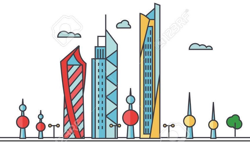 Kuwait city skyline. Buildings, streets, silhouette, architecture, landscape, panorama, landmarks. Editable strokes. Flat design line vector illustration concept. Isolated icons on white background