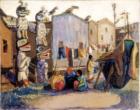 Emily Carr, Indian Village: Alert Bay (c. 1912) oil on canvas, 63.5 x 81.3 cm, Beaverbrook Art Gallery: Gift of Lord Beaverbrook