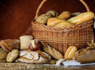 Basket of bread and buns in traditional still-life