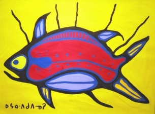 Norval Morrisseau - Mother Fish - 18x24 - 22316