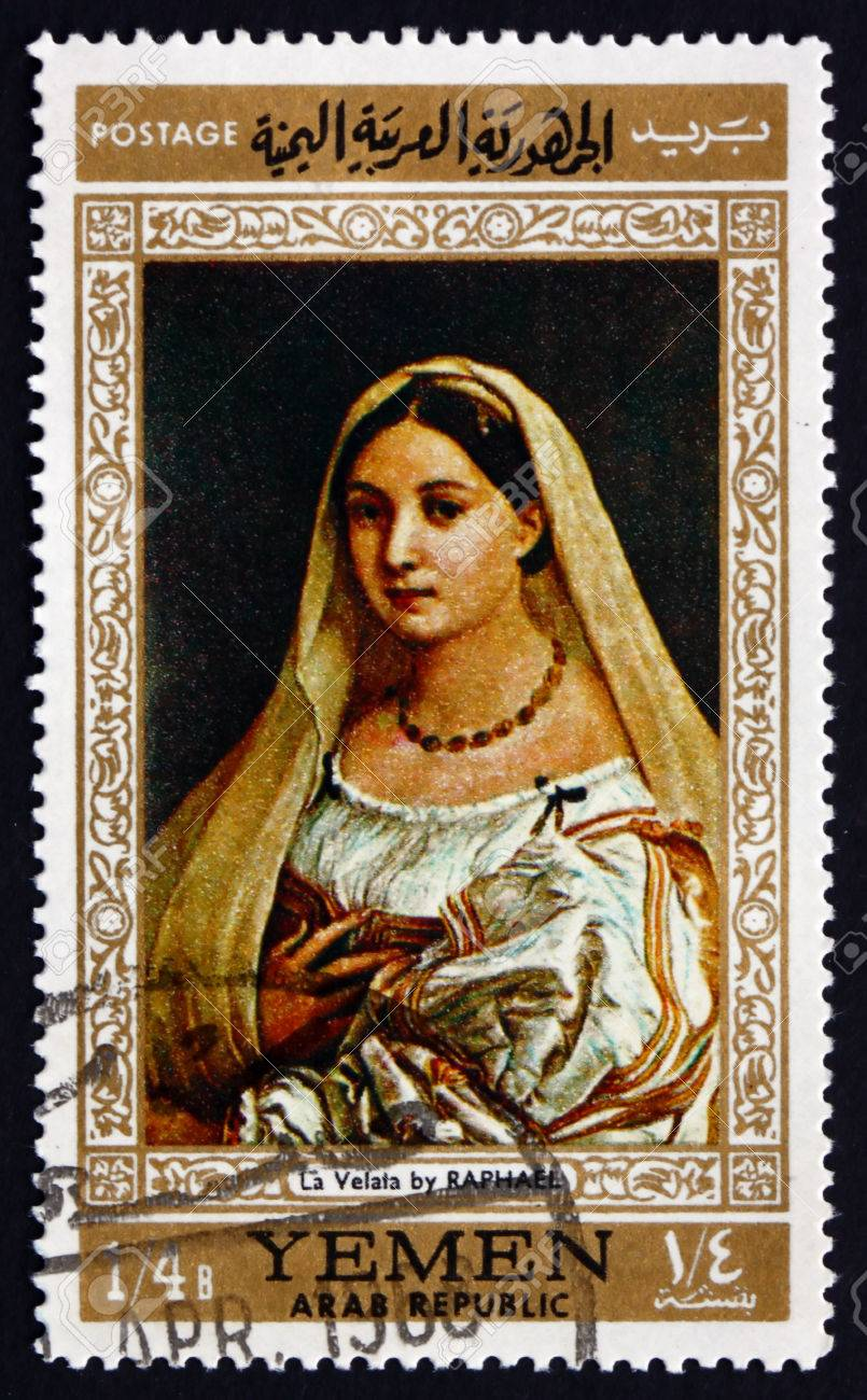 Postage stamp Yemen 1968 Woman with a Veil, by Raphael
