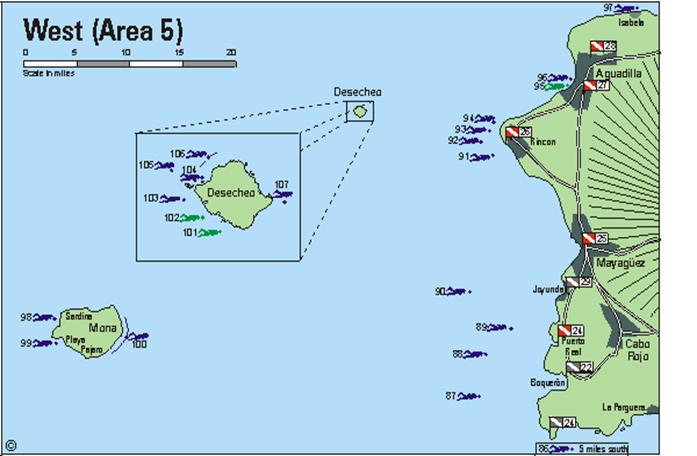Puert Rico area 5 - West coast including Desecheo and Mona dive sites and dive operators